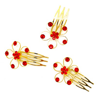 Bridal Decorative Hair Comb, Zinc Alloy, Flower, gold color plated, for bridal & with Australia rhinestone, nickel, lead & cadmium free, 30mm, 200PCs/Lot, Sold By Lot