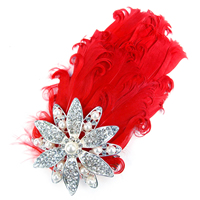 Bridal Hair Flowers, Feather, with Glass Pearl & Iron & Zinc Alloy, with rhinestone, red, 160x65mm, 20PCs/Lot, Sold By Lot