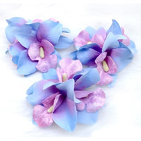 Bridal Hair Flowers, Polyester, with PE Foam & Iron, for bridal, mixed colors, 75x80mm, 150PCs/Lot, Sold By Lot