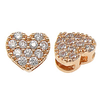 Cubic Zirconia Micro Pave Slide Charm, Brass, Heart, plated, micro pave cubic zirconia, more colors for choice, nickel, lead & cadmium free, 8x7x4mm, Hole:Approx 5x1.5mm, Sold By PC