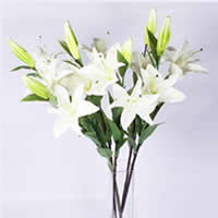 Artificial Flower Home Decoration, Rubber, with Plastic & Iron, Lily, more colors for choice, Sold By PC