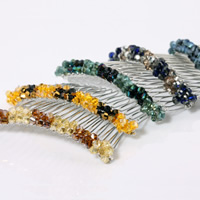 Decorative Hair Combs, Austrian Crystal, with Crystal Thread & Zinc Alloy, silver color plated, faceted, mixed colors, 10PCs/Lot, Sold By Lot