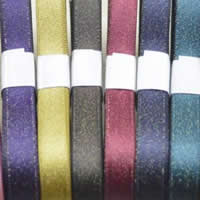 Polyester Ribbon, with gold vein, mixed colors, 10mm, 100Bags/Lot, 5m/Bag, Sold By Lot