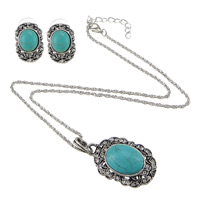 Turquoise Jewelry Sets, Zinc Alloy, earring & necklace, with iron chain & Synthetic Turquoise, with 2lnch extender chain, Flat Oval, plated, rope chain & with rhinestone, nickel, lead & cadmium free, Length:Approx 18 Inch, Sold By Set
