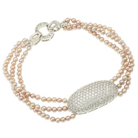 Cultured Freshwater Pearl Brass Bracelet, brass foldover clasp, Flat Oval, platinum plated, micro pave cubic zirconia & 3-strand, light purple, 2.5-3mm, Sold Per Approx 7.5 Inch Strand