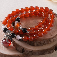 Carnelian Necklace, with Black Obsidian & Crystal & Thailand Sterling Silver & 925 Ste