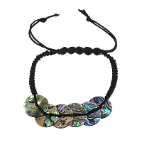Abalone Shell Shamballa Bracelet, with Nylon Cord, 3mm, 15x15mm, Sold Per Approx 10 Inch Strand