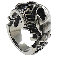 Stainless Steel Skull Finger Ring, blacken, 24mm, Size:8, Sold By PC
