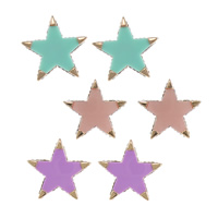 Resin Zinc Alloy Earring, with Rubber & Resin, Star, plated, with rhinestone, more colors for choice, nickel, lead & cadmium free, 24.5x24.5x3.5mm, Sold By Pair