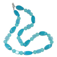 Dyed Jade Necklace, zinc alloy lobster clasp, blue, 11.5x18mm, Sold Per Approx 17 Inch Strand