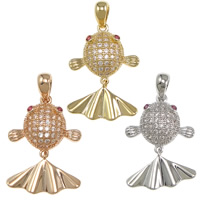 Cubic Zirconia Micro Pave Brass Pendant, Fish, plated, Customized & micro pave cubic zirconia, more colors for choice, nickel, lead & cadmium free, 14x20x4mm, Hole:Approx 4x3mm, Sold By PC