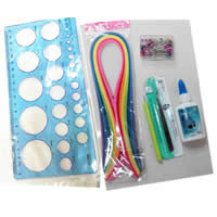 Paper DIY Paper Quilling Tool Set, DIY paper quilling tool & paper quilling pen & quilling paper & tweezers & glue, with Plastic & Stainless Steel, Sold By Set