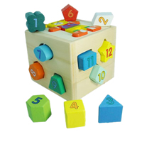Wood Brick Toy, painted, for children, multi-colored, 120x120x110mm, 50Sets/Lot, Sold By Lot