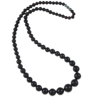 Garnet Necklace, brass screw clasp, Round, graduated beads, 5-10mm, Length:Approx 16.5 Inch, Sold By Strand