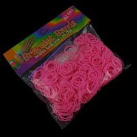 Loom Bands, Rubber, with Plastic, synthetic, attachted crochet hook & with plastic S clip & for children, more colors for choice, 15x1.5mm, Approx 600PCs/Bag, Sold By Bag
