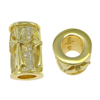 Cubic Zirconia Micro Pave Brass European Bead, Column, plated, micro pave 40 pcs cubic zirconia & Customized & without troll, more colors for choice, nickel, lead & cadmium free, 10x14mm, Hole:Approx 5mm, Sold By PC
