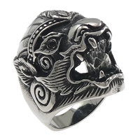 Rhinestone Stainless Steel Finger Ring, Animal, with rhinestone & hollow & blacken, 32.5mm, US Ring Size:9, Sold By PC