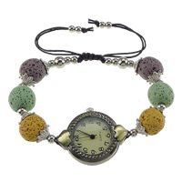 Shamballa Watch, Lava, with Nylon Cord & Glass & Zinc Alloy, plated, adjustable, multi-colored, 31x27x8mm, 9.5x11.5mm, 4mm, Sold Per Approx 6-11 Inch Strand