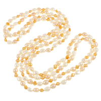 Freshwater Pearl Sweater Chain Necklace, natural, two tone, 5-9mm, Sold Per Approx 70.5 Inch Strand