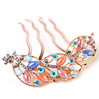 Bridal Decorative Hair Comb, Zinc Alloy, with Cats Eye, Leaf, real rose gold plated, for bridal & with Czech rhinestone, more colors for choice, nickel, lead & cadmium free, 92x80mm, Sold By PC