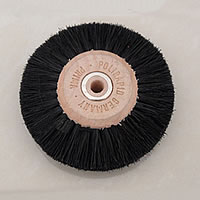 Polishing Brush, Stainless Steel, with Bristle, Flat Round, black, Hole:Approx 6mm, Sold By PC