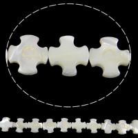 Seashell Beads, Natural Seashell, Cross, white, Hole:Approx 1mm, Length:Approx 15.7 Inch, 29PCs/Strand, Sold By Strand
