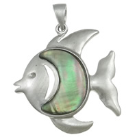 Black Shell Pendant, Zinc Alloy, with brass bail & Black Shell, Fish, platinum color plated, nickel, lead & cadmium free, 42x55x5mm, Hole:Approx 5x8mm, Sold By PC