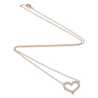 Rhinestone Brass Necklace, Heart, plated, oval chain & with rhinestone, more colors for choice, nickel, lead & cadmium free, Length:Approx 16 Inch, Sold By Strand