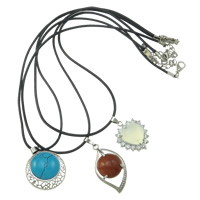 Gemstone Necklaces, Brass, with Waxed Hemp Cord & Gemstone, with 4.5cm extender chain, natural, mixed colors, nickel, lead & cadmium free, 20-30mm, Length:Approx 16.5 Inch, 12Strand/Box, Sold By Box