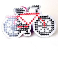Hama Fuse Beads Pegboard, Plastic, Bike, 5mm DIY fuse pegboards & with fuse beads template & transparent, white, 155x95mm, Sold By PC