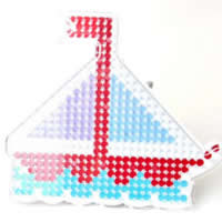 Hama Fuse Beads Pegboard, Plastic, Ship, nautical pattern & 5mm DIY fuse pegboards & with fuse beads template & transparent, white, 150x130mm, Sold By PC