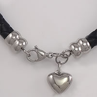 Stainless Steel Lobster Claw Cord Clasp, Heart, with end cap, original color, Sold By Set