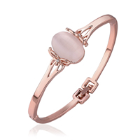 Fashion Zinc Alloy Bangle, with Cats Eye, rose gold color plated, with rhinestone, 16mm, Inner Diameter:Approx 51x55mm, Length:Approx 6.7 Inch, Sold By PC