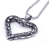 Stainless Steel Heart Pendants, 316L Stainless Steel, blacken, 50x39mm, Hole:Approx 3mm, Sold By PC