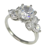 Cubic Zirconia Stainless Steel Finger Ring, Flower, with cubic zirconia, original color, 10mm, Size:8, Sold By PC