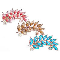 Hair Barrettes, Zinc Alloy, with Resin, Leaf, rose gold color plated, faceted & with rhinestone, nickel, lead & cadmium free, 88x50mm, Sold By PC