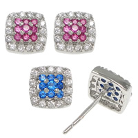 Cubic Zirconia Micro Pave Sterling Silver Earring, 925 Sterling Silver, Square, without earnut & micro pave cubic zirconia, more colors for choice, 9x9x16mm, 0.8mm, Sold By Pair