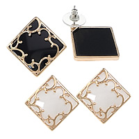 Resin Zinc Alloy Earring, with rubber earnut & Resin, Rhombus, plated, more colors for choice, nickel, lead & cadmium free, 30x30x18mm, Sold By Pair