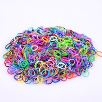 Loom Bands, Rubber, with Plastic, attachted crochet hook & with plastic S clip, more colors for choice, 18x2mm, 600PCs/Bag, Sold By Bag