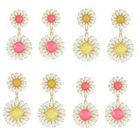Resin Zinc Alloy Earring, with plastic earnut & Resin, stainless steel post pin, Flower, gold color plated, faceted, mixed colors, nickel, lead & cadmium free, 36x70mm, 5Pairs/Bag, Sold By Bag