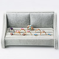 Velveteen Ring Display, with Wood, Sofa, silver-grey, 195x105x95mm, Sold By PC