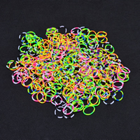 Loom Bands, Rubber, with Plastic, attachted crochet hook & with plastic S clip & DIY & for children, more colors for choice, 2mm, 600PCs/Bag, Sold By Bag
