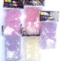 Loom Bands, Rubber, with plastic C clasp or S clasp & UV magic color changing but white under normal temperature & DIY & for children & transparent, mixed colors, 2mm, 600PCs/Bag, Sold By Bag