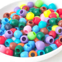 Colorful Loom Beads, Plastic, Rondelle, mixed colors, 8-10mm, Hole:Approx 4-6mm, Approx 1500PCs/KG, Sold By KG