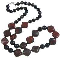 Jasper Brecciated Necklace, with Nylon Cord & Black Agate, brass lobster clasp, Rhombus, natural, Length:Approx 18 Inch, Sold By Strand
