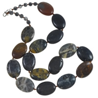Gemstone Necklace, with Nylon Cord, brass lobster clasp, Flat Oval, natural, 18x25x7mm, Length:Approx 20.5 Inch, Sold By Strand