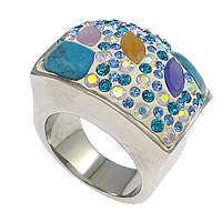 Rhinestone Stainless Steel Finger Ring, 304 Stainless Steel, with Rhinestone Clay Pave & Synthetic Turquoise & Glass, with 70 pcs rhinestone & faceted, multi-colored, 20mm, Size:10, Sold By PC