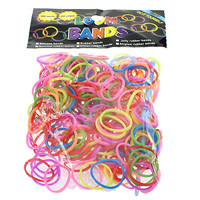 Loom Bands, Rubber, platinum color plated, attachted crochet hook & with plastic S clip & luminated & solid color, mixed colors, nickel, lead & cadmium free, 1.3mm, 12x6x2mm, 83x6x4mm, 600PCs/Bag, Sold By Bag