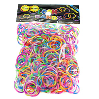 Loom Bands, Rubber, platinum color plated, attachted crochet hook & with plastic S clip & two tone, mixed colors, nickel, lead & cadmium free, 1.3mm, 12x6x2mm, 83x6x4mm, 600PCs/Bag, Sold By Bag