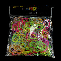 Loom Bands, Rubber, platinum color plated, attachted crochet hook & with plastic S clip & transparent & luminated, mixed colors, nickel, lead & cadmium free, 1.3mm, 12x6x2mm, 83x6x4mm, 600PCs/Bag, Sold By Bag